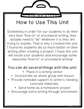 How To Writing Unit with Craftivities