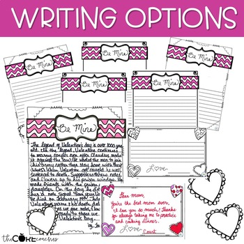 History of Valentine's Day- Printable Text, Writing and Craft Lesson Plans (4-6)