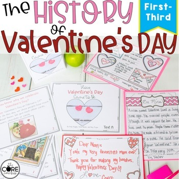 History of Valentine's Day- Printable Text, Writing and Craft Lesson Plans (1-3)