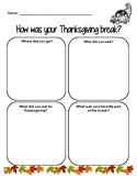 How Was Your Thanksgiving Break? Input Form