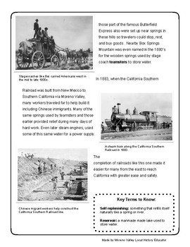 How Water Has Changed and Shaped Moreno Valley Reading Comprehension Packet