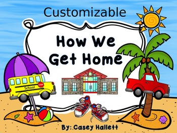 How We Get Home {Customizable Beach Theme Transportation Clip Chart}