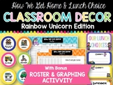 How We Get Home & Lunch Choice Clip Charts: Rainbow Unicorn Edition