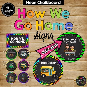 Transportation Display How We Get Home, {Neon & Chalkboard}