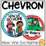 How We Go Home Clip Chart {Primary Colors Chevron Classroom Decor Theme}