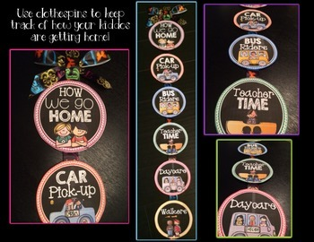 How We Go Home Clip Chart {Black and Brights Chalkboard Theme}