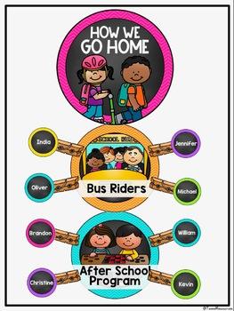 How We Go Home Clip Chart {Chalkboard and Chevron Classroom Decor Theme}
