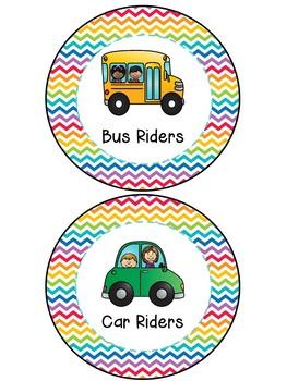 How We Go Home Clip Chart - Rainbow Chevron Theme Classroom