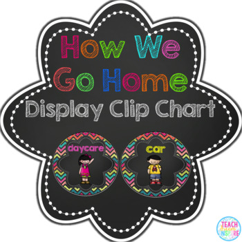 How We Go Home Clip Chart in Bright Chevron and Chalkboard {Editable}