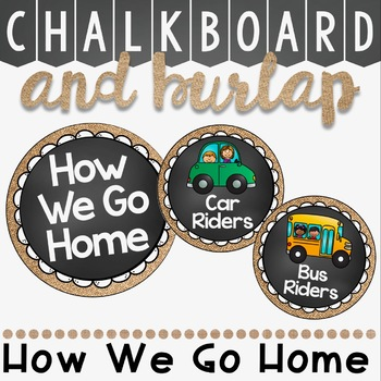 How We Go Home Clip Chart in a Chalkboard and Burlap Classroom Decor Theme