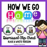 How We Go Home {Editable Black & White Dismissal Clip Chart}