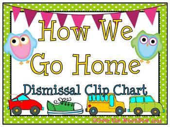 How We Go Home Dismissal Clip Chart – Cutie Owls & Polka Dots