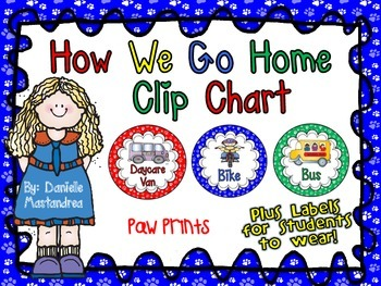 How We Go Home Dismissal Clip Chart & Student Labels {Dog / Paw Prints}