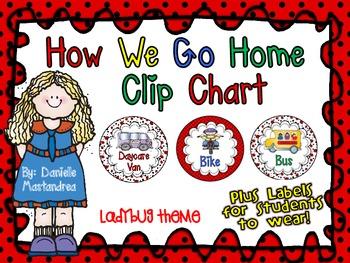 How We Go Home Dismissal Clip Chart & Student Labels {Ladybug Theme}