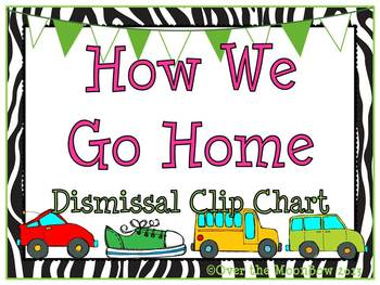 How We Go Home Dismissal Clip Chart – Zebra Stripe & Lime Green