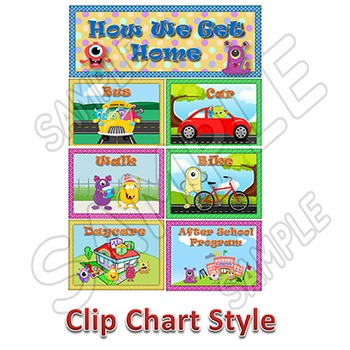 How We Go Home Monsters Theme School Dismissal Charts