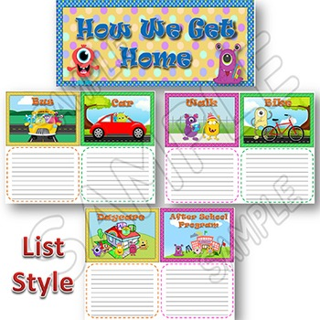 How We Go Home MONSTERS Themed School Dismissal Wall or Bulletin Board Display