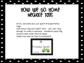 How We Go Home - Transportation Clip Chart, Tags and Bracelets EDITABLE