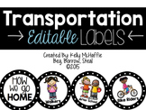 Transportation Labels -EDITABLE