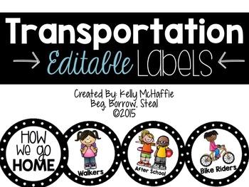 Transportation Labels -EDITABLE