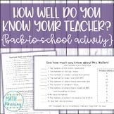 How Well Do You Know Your Teacher? Editable Quiz - Back-to-School Math Activity