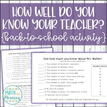 How Well Do You Know Your Teacher? Editable Quiz - Back-to-School Math Activity