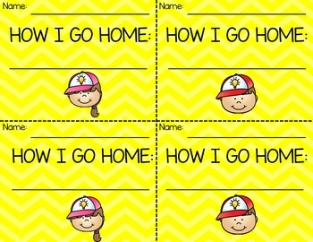 How Will You Get Home Today?- Backpack Tags for Dismissal- Yellow Chevron