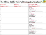 How Will Your Child Get Home (English & Spanish) *Editable