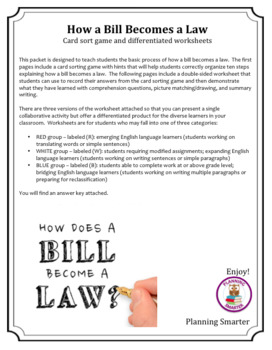 How a Bill Becomes a Law Card sort game and differentiated worksheets