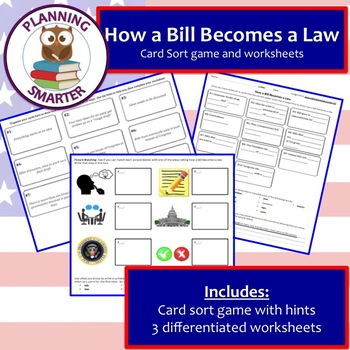 How a bill becomes a law worksheet teaching resources teachers pay how a bill becomes a law card sort game and differentiated worksheets ccuart Images