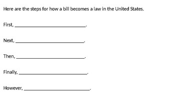 How a Bill Becomes a Law- English Temporal Sentence Stems