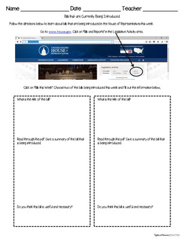 How a Bill Becomes a Law Interactive Note-taking Activities