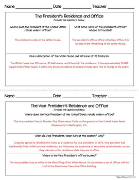 The White House Interactive Note-taking Activities