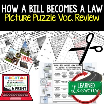 How a Bill Becomes a Law Picture Puzzle Unit Review, Study Guide, Test Prep