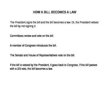 How a Bill Becomes a Law- Sequencing Activity