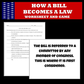 How A Bill Becomes A Law Quiz Worksheets & Teaching ...