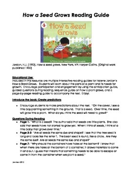 How a Seed Grows Reading Guide