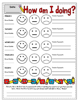 How am I Doing Discipline Sheet for Early Elementary Red Yellow Green System