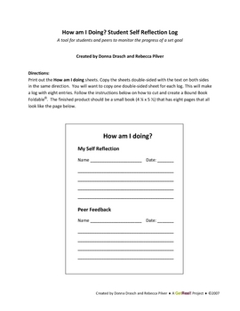 How am I Doing? Student Self Reflection Log