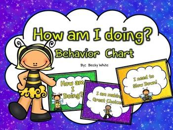 How am I doing? Behavior Chart  Busy Bee Theme