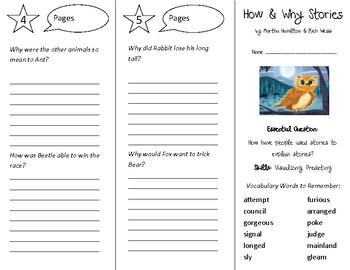 How and Why Stories Trifold - Open Court 4th Grade Unit 4 Lesson 1