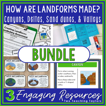 How are Landforms Created | Canyons Deltas and Sand Dunes Activities Bundle