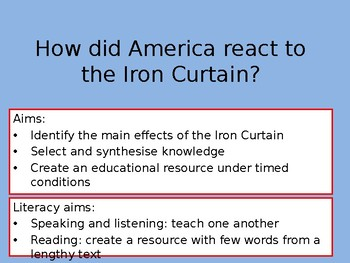 How did America react to the Iron Curtain? A two lesson enquiry with exam