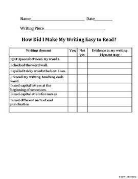 How did I make my writing easy to read? Student Self-Checklist