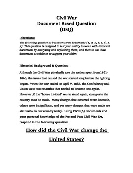 How did the Civil War change the United States?  Document Based Question (DBQ)