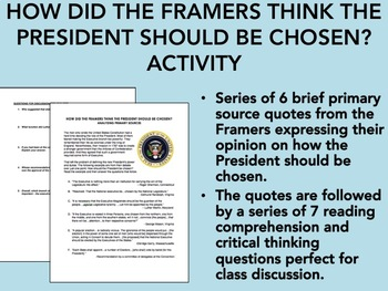 How did the Framers Think the President Should be Chosen? Activity