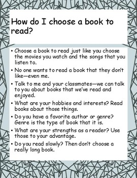 How do I choose a book to read? Poster, handout, minilesson