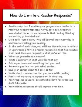 How do I write a Reader Response? Minilesson, poster, printable