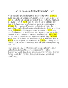 How do People Affect Watersheds?  -- CLOZE REading