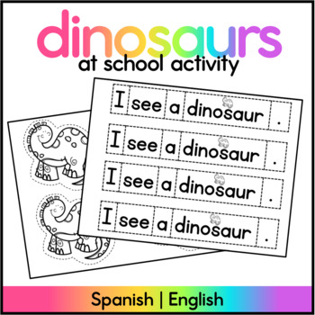 How do dinosaurs go to school? Spanish & English activity